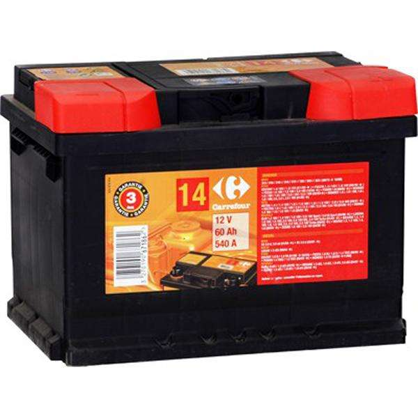 batterie voiture 60ah 640a carrefour