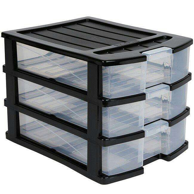tour de rangement plastique 3 tiroirs a6 noir. Black Bedroom Furniture Sets. Home Design Ideas