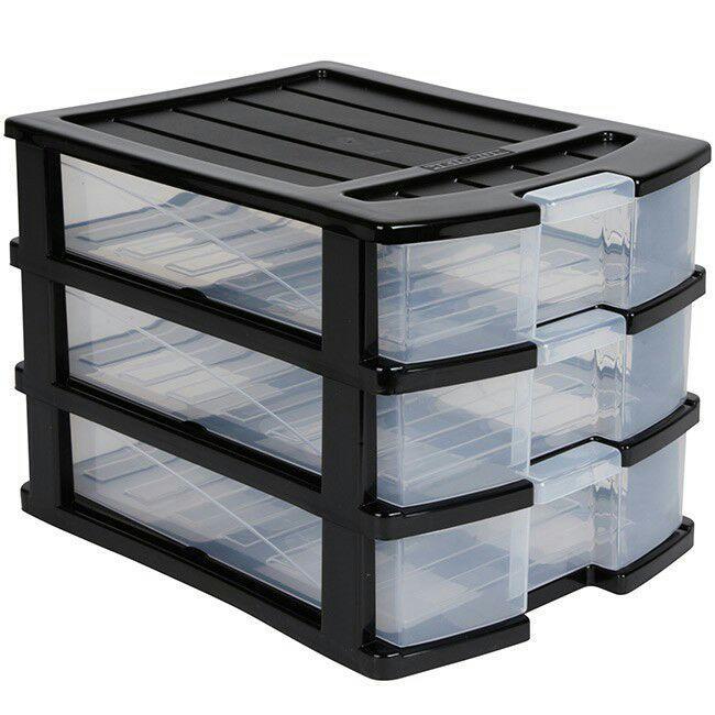tour de rangement plastique 3 tiroirs a6 noir. Black Bedroom Furniture Sets. Home Design Ideas