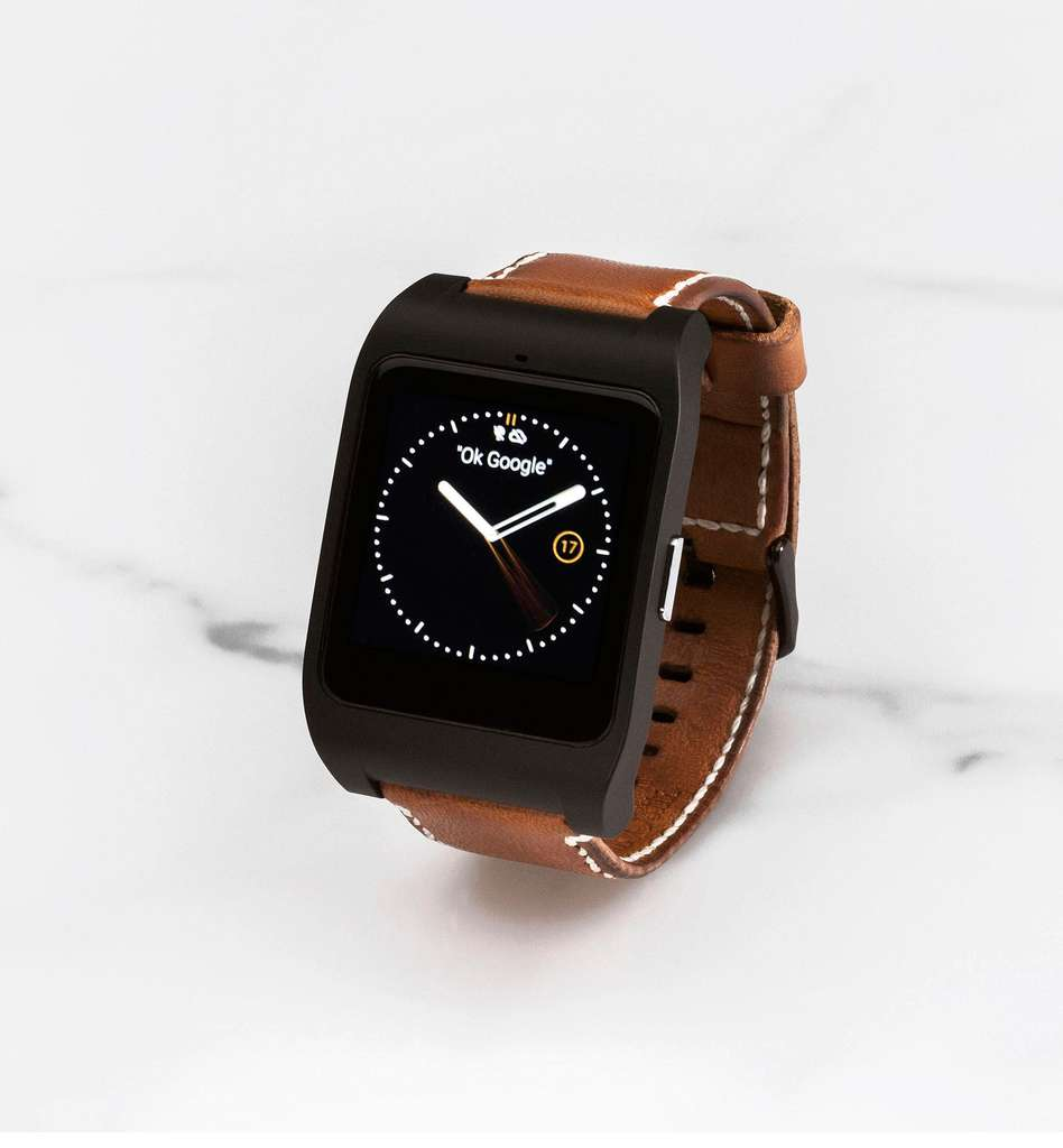 montre connect e sony smartwatch 3 swr50 avec bracelet massimo dutti en cuir. Black Bedroom Furniture Sets. Home Design Ideas