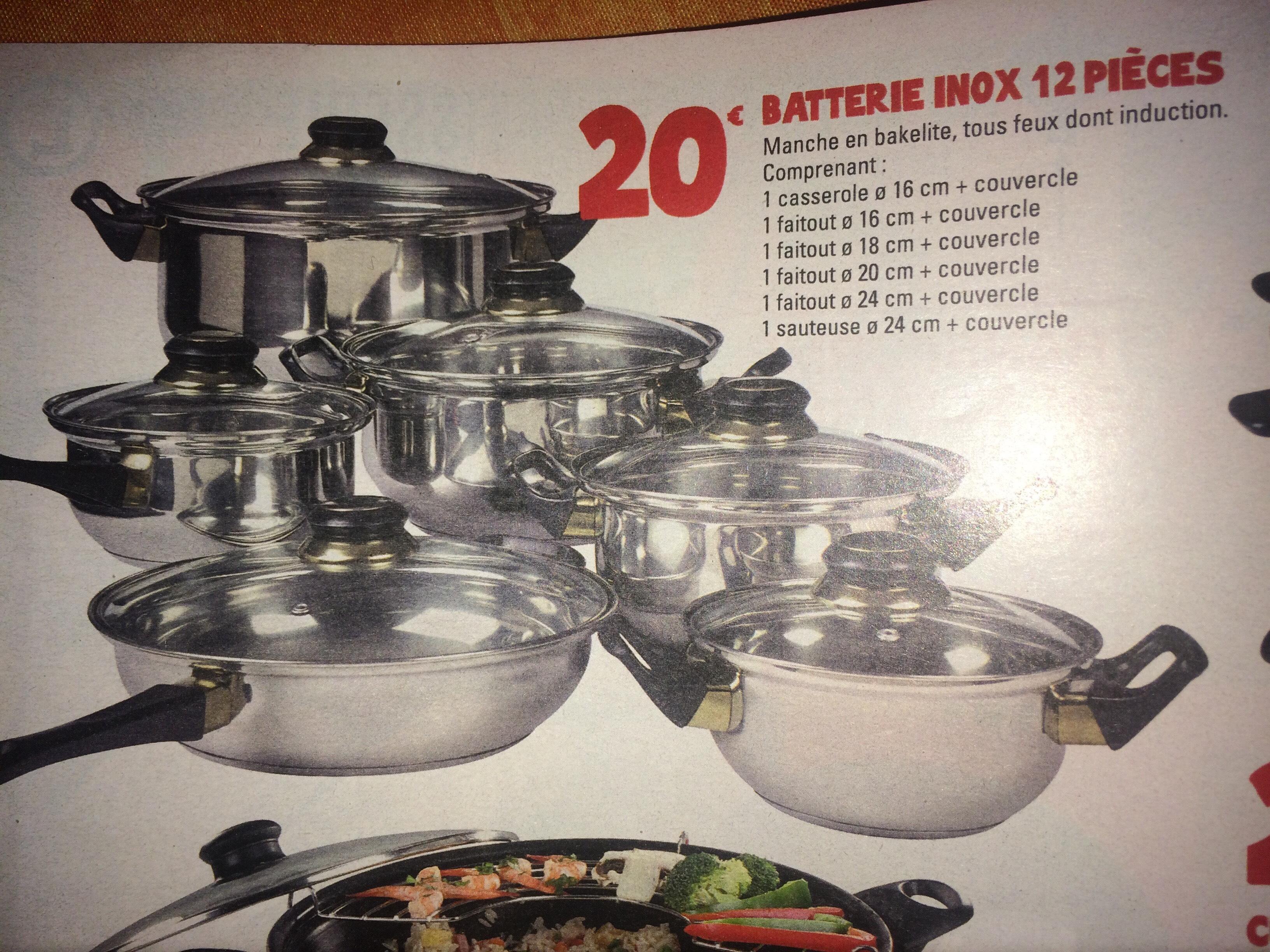 Batterie de cuisine en inox 12 pi ces for Espace cuisine casserole inox
