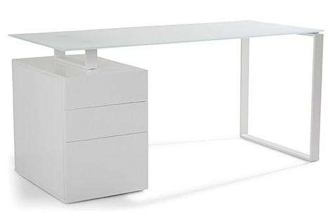 a partir de 13h bureau burea00184 avec caisson de rangement laqu blanc plateau verre. Black Bedroom Furniture Sets. Home Design Ideas