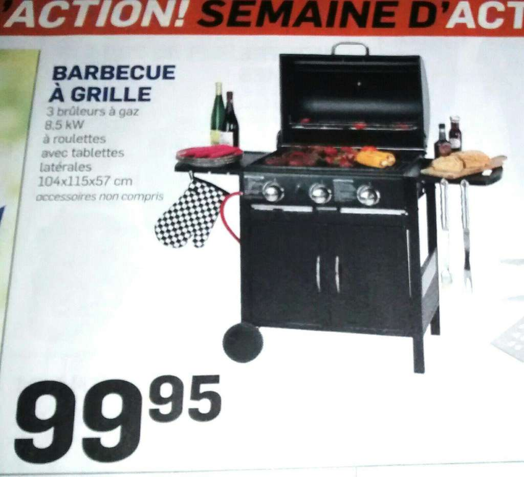 barbecue gaz 3 bruleurs grille 2 tablettes roulettes et cache bouteille. Black Bedroom Furniture Sets. Home Design Ideas