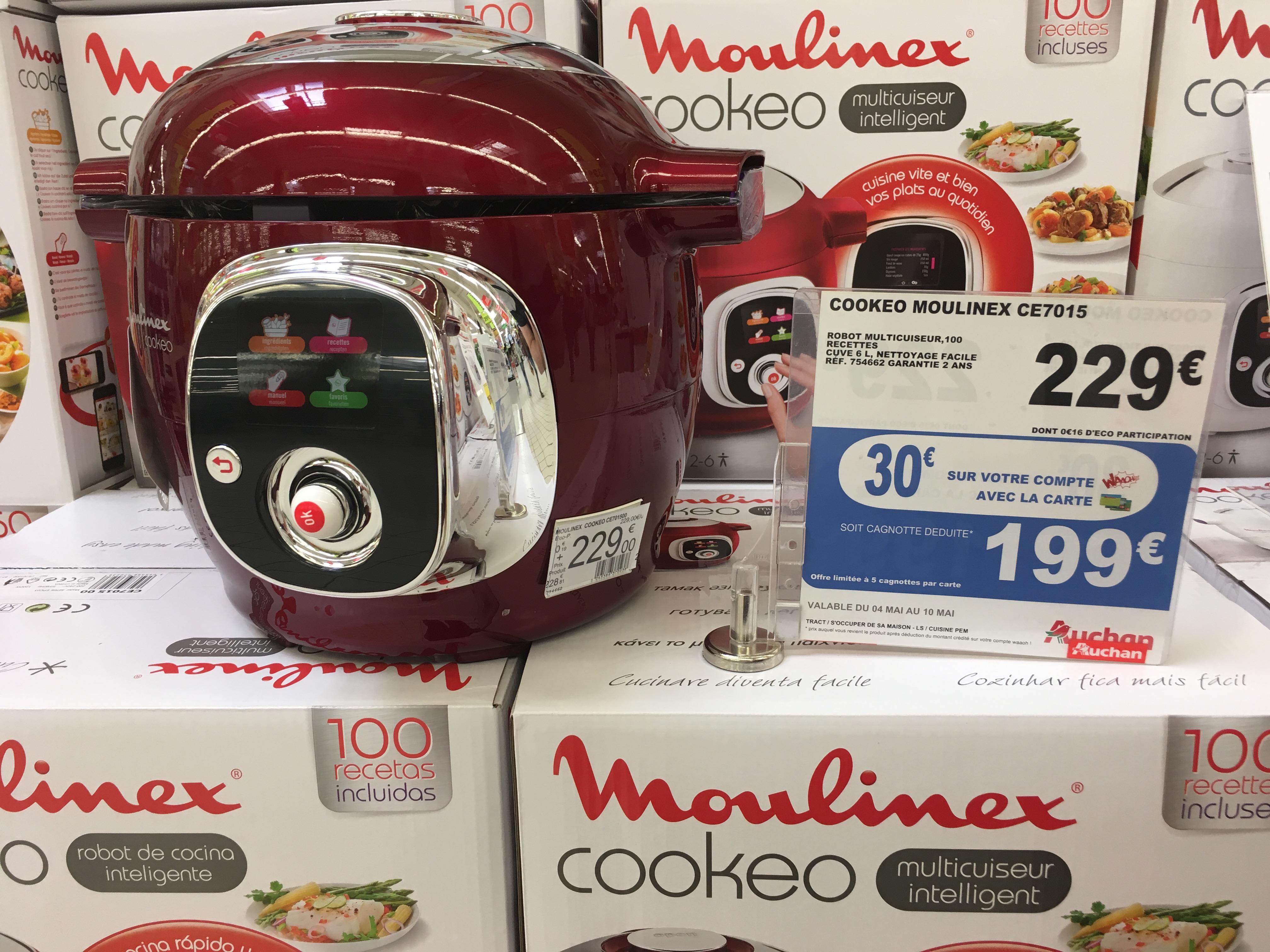 robot multicuiseur moulinex cookeo ce7015 rouge via 30 sur la carte. Black Bedroom Furniture Sets. Home Design Ideas