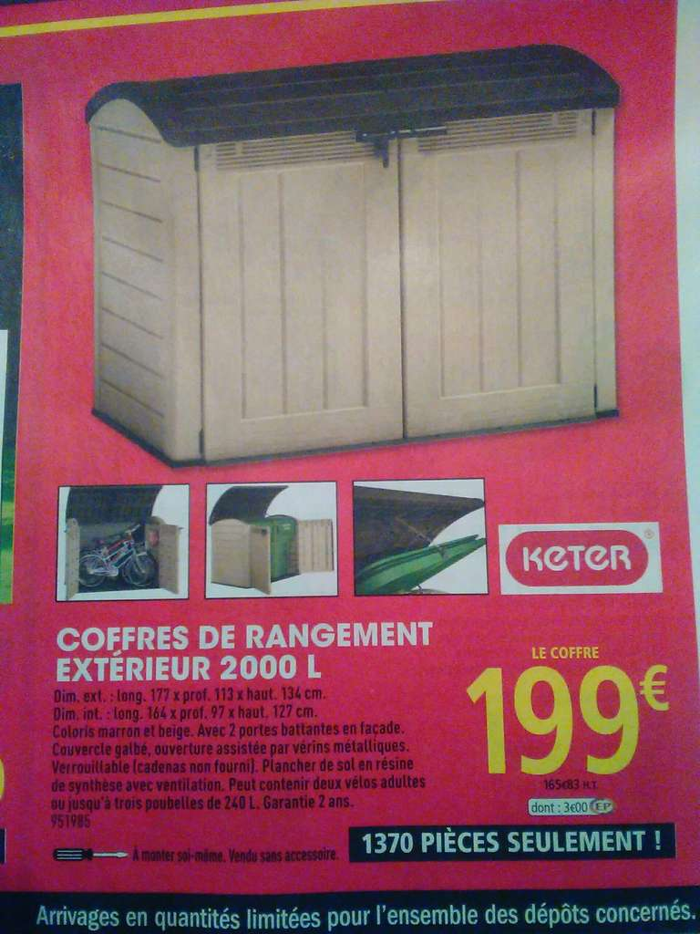coffre de rangement ext rieur keter 2000 l. Black Bedroom Furniture Sets. Home Design Ideas