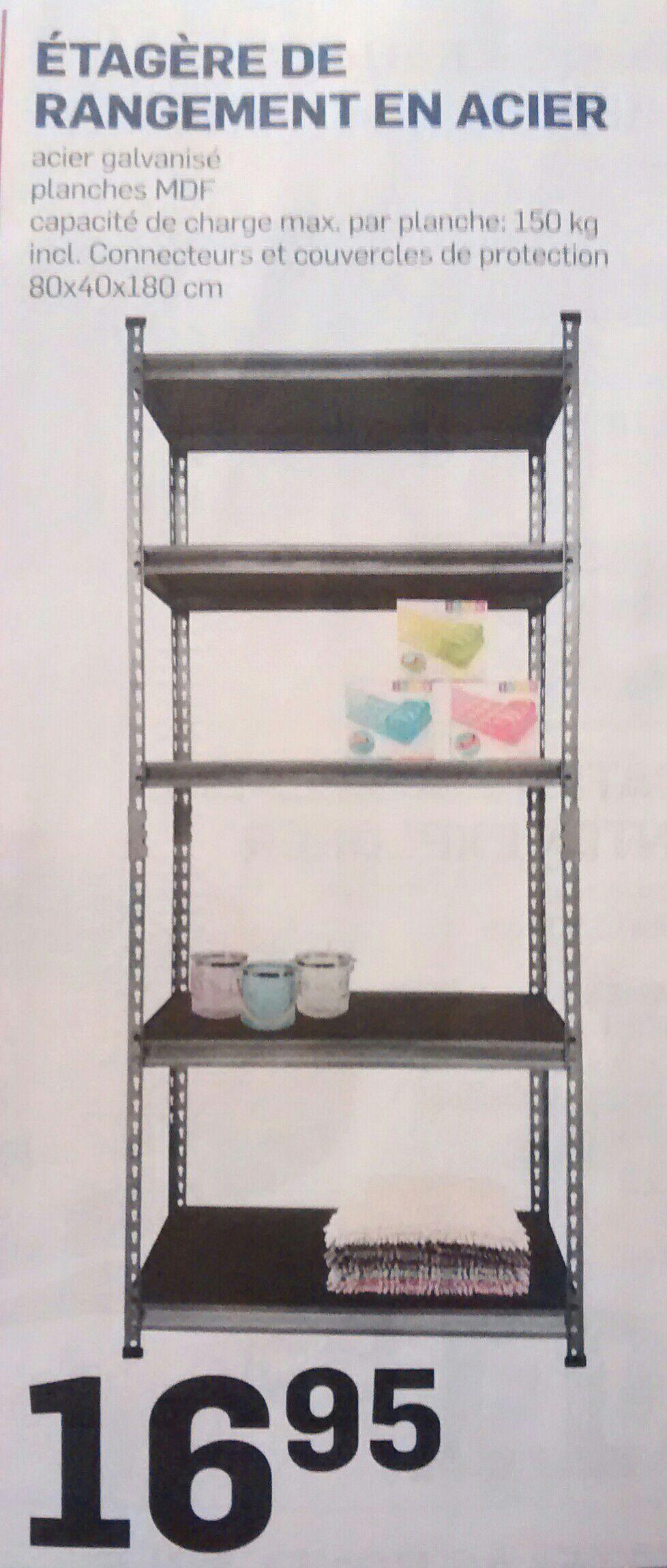 tag re de rangement en acier 180x80x40cm 150kg par tablette. Black Bedroom Furniture Sets. Home Design Ideas