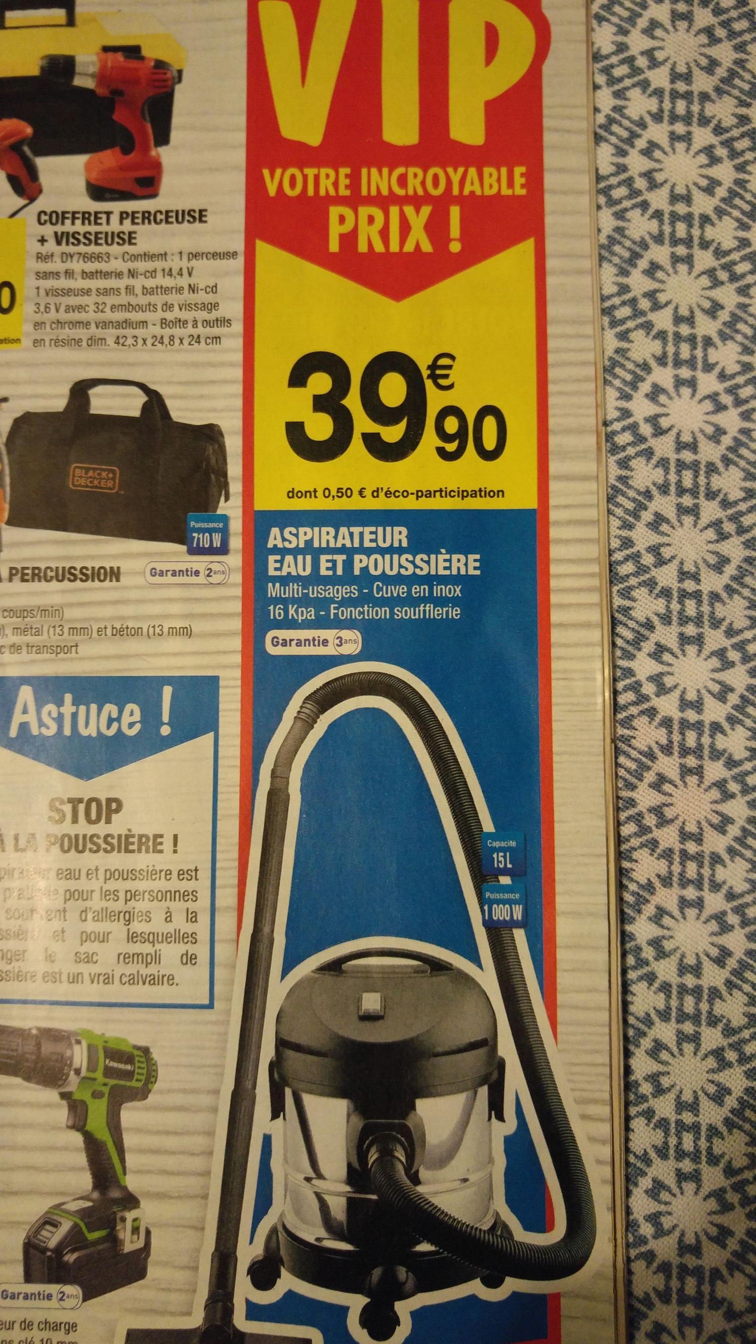 aspirateur eau et poussi re 1000w 15l. Black Bedroom Furniture Sets. Home Design Ideas