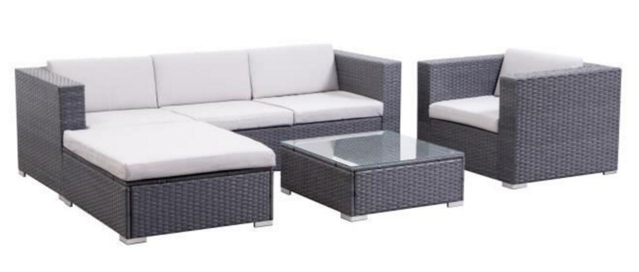 salon de jardin goa 5 pi ces en r sine tress e gris. Black Bedroom Furniture Sets. Home Design Ideas