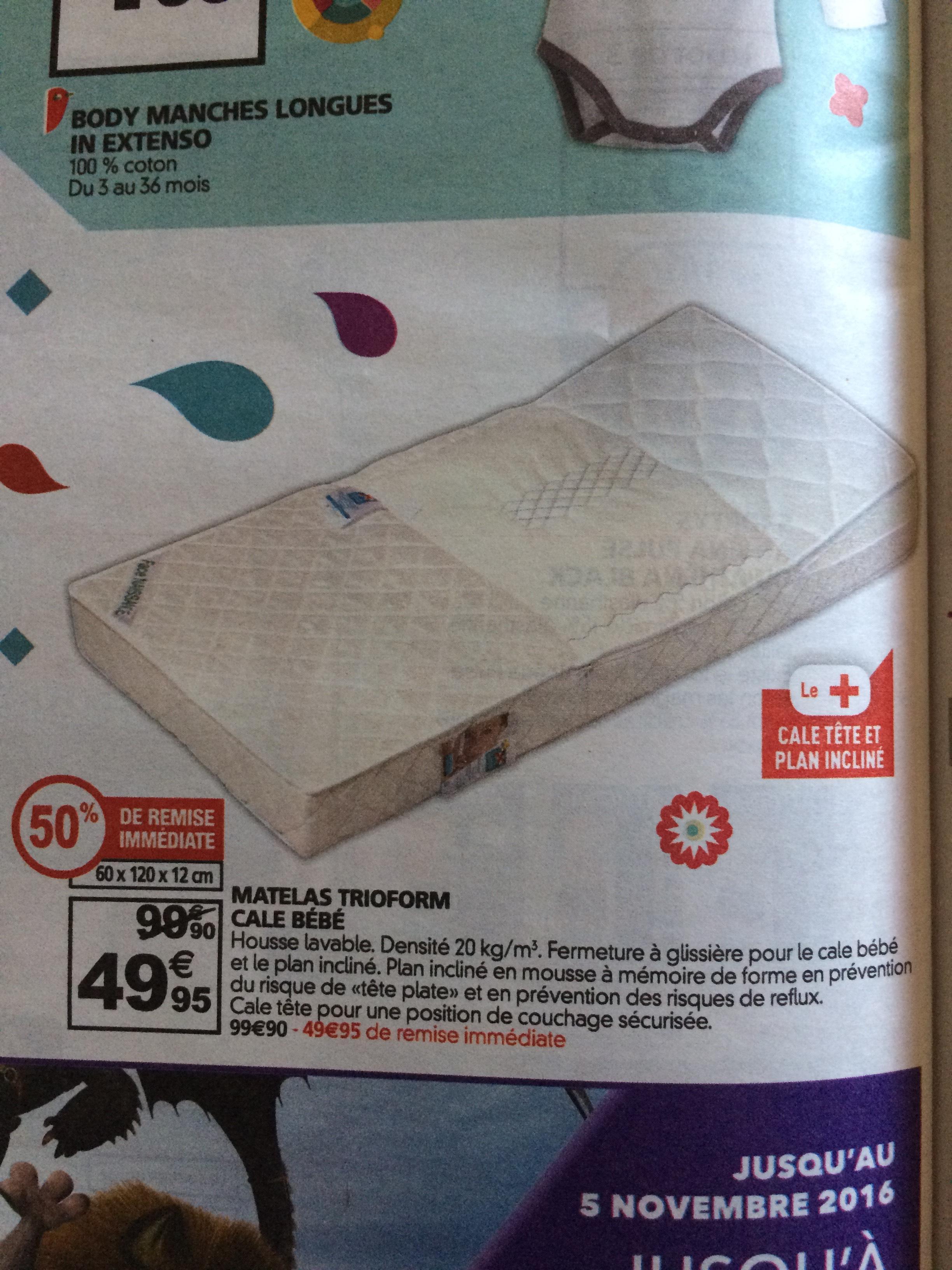 matelas trioform cale b b 60 x 120 cm. Black Bedroom Furniture Sets. Home Design Ideas