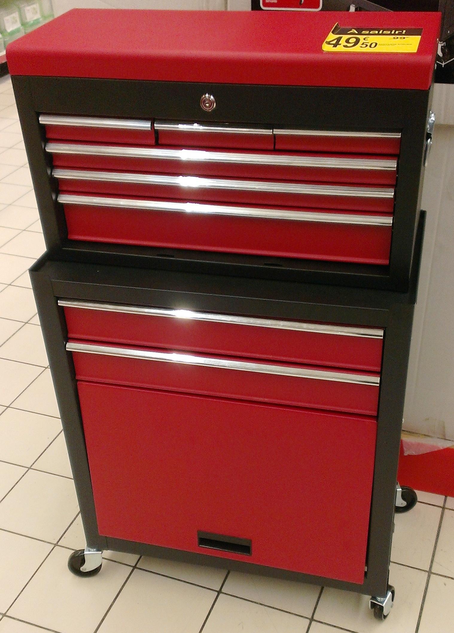 servante d 39 atelier 2 en 1 workpro rouge avec coffre outils 107 x 33 x 61cm. Black Bedroom Furniture Sets. Home Design Ideas