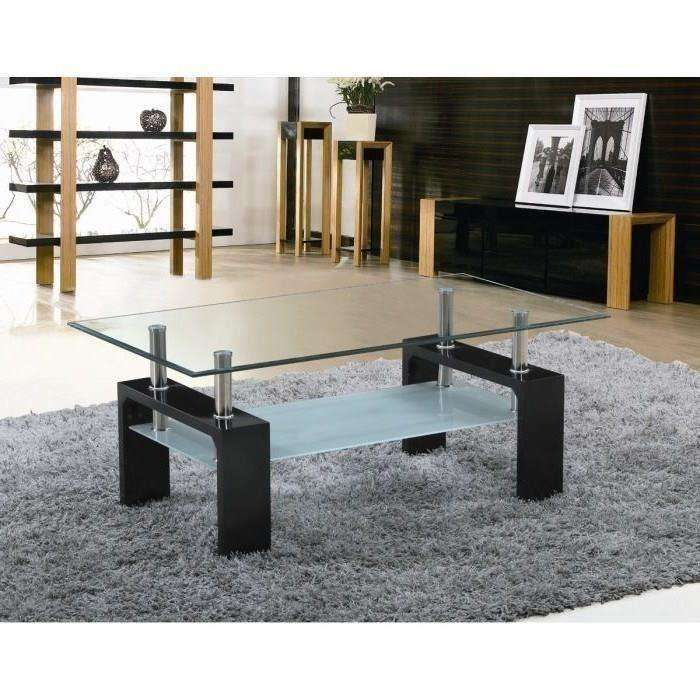 table basse sofia avec plateau en verre laqu e noire ou blanche. Black Bedroom Furniture Sets. Home Design Ideas