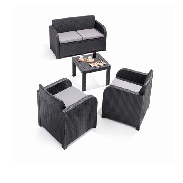 salon de jardin georgia effet rotin 3 fauteuils 1 table basse. Black Bedroom Furniture Sets. Home Design Ideas