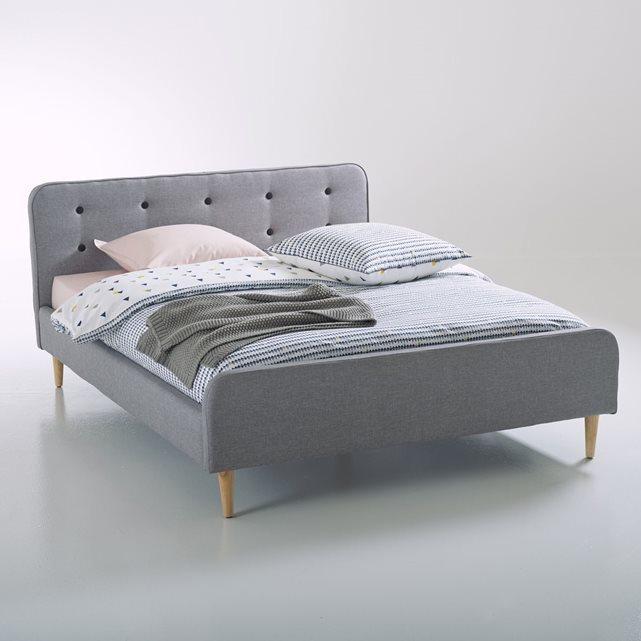 lit tissu capitonn laur o gris 160 x 200cm. Black Bedroom Furniture Sets. Home Design Ideas