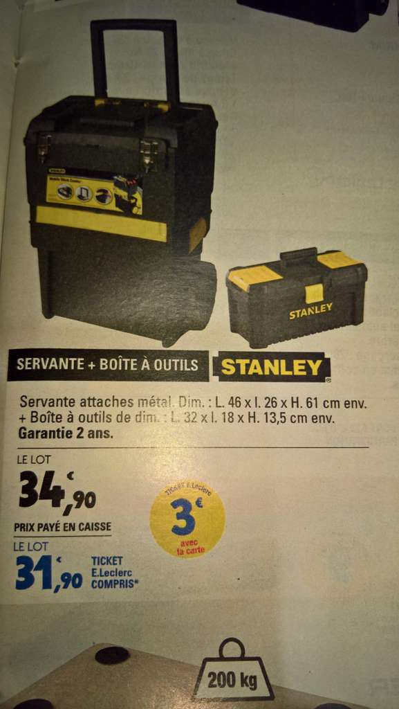 servante bo te outils stanley avec 3 en tickets leclerc. Black Bedroom Furniture Sets. Home Design Ideas