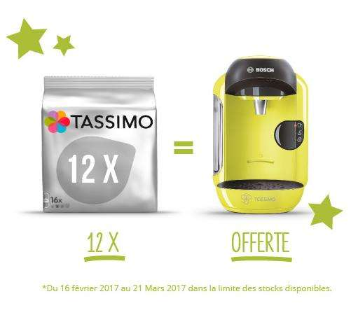 1 machine caf tassimo vivy jaune mod le t12 offerte pour l 39 achat de 12 paquets de capsules. Black Bedroom Furniture Sets. Home Design Ideas