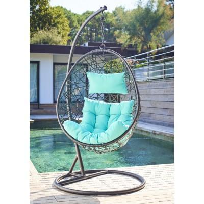 fauteuil de jardin suspendu noir et bleu. Black Bedroom Furniture Sets. Home Design Ideas