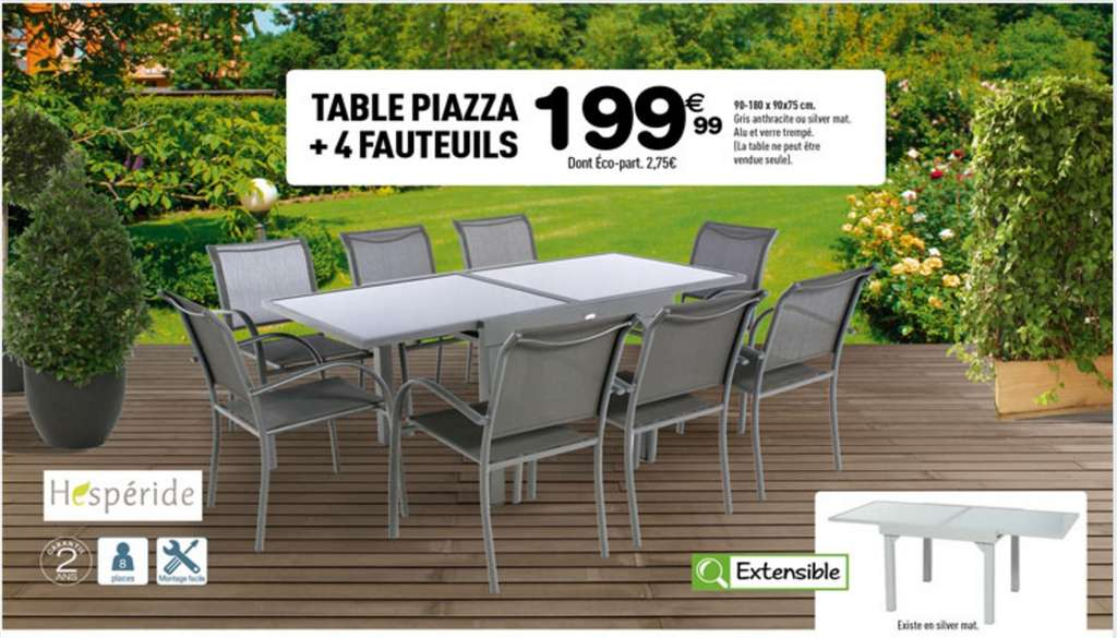 Stunning table de jardin aluminium et verre hesperide for Table extensible piazza
