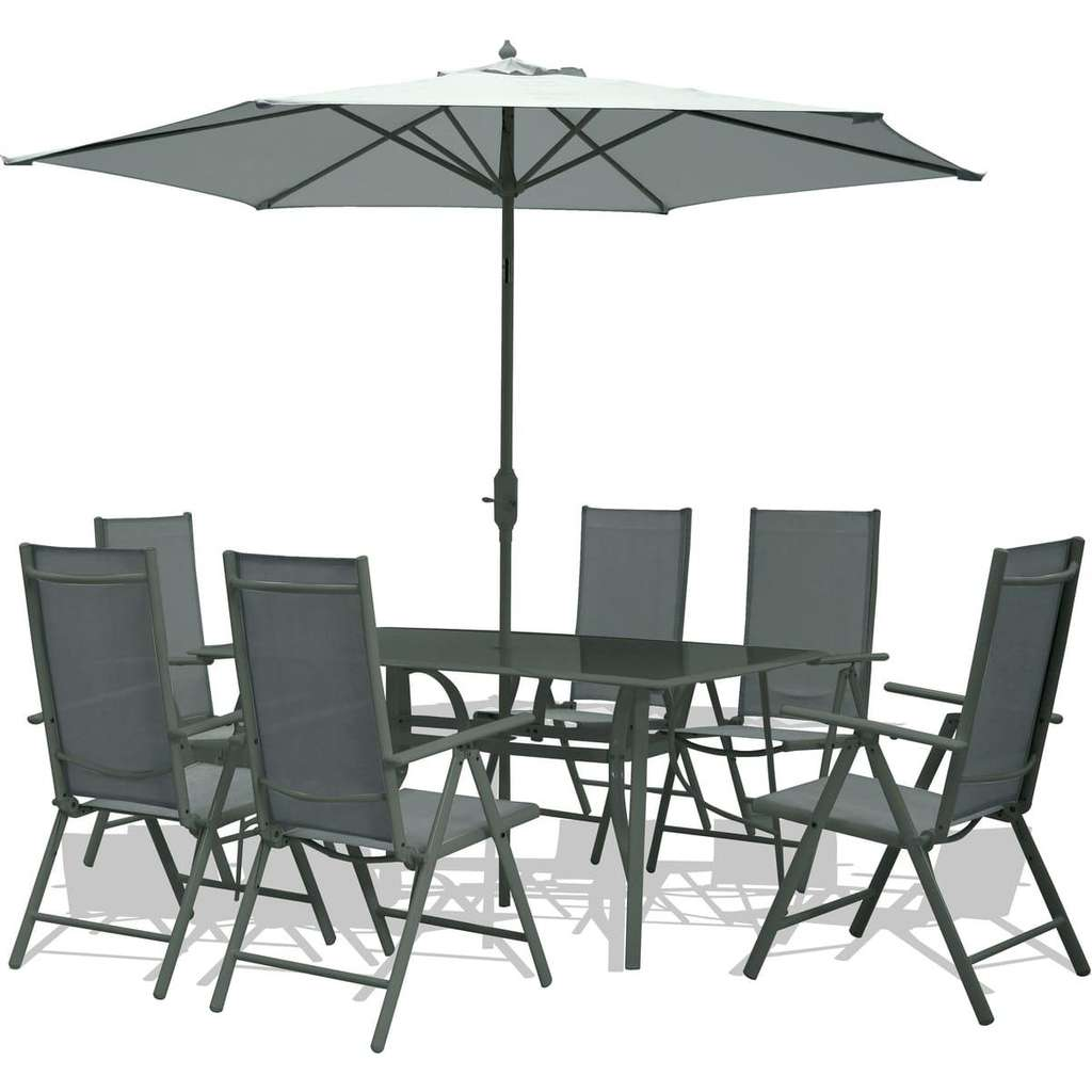 Salon de jardin family table 6 chaises parasol for Salon de jardin avec parasol