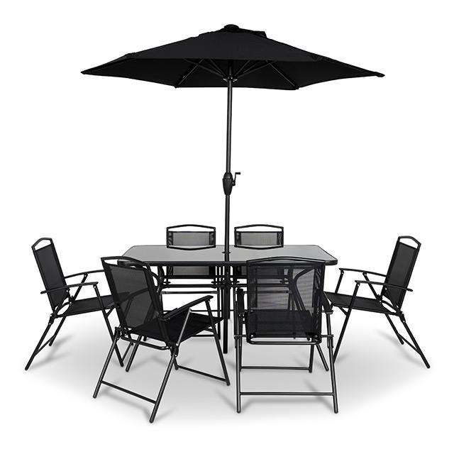 salon de jardin bahama table parasol 6 chaises. Black Bedroom Furniture Sets. Home Design Ideas