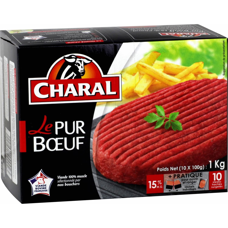 Populaire Lot de 10 Steaks hachés Charal 100% Pur Boeuf 15% mg (via BDR  XU17