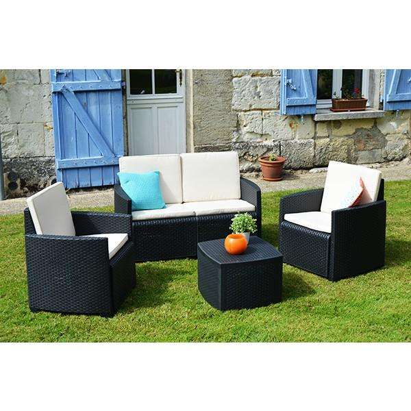 salon de jardin bas etna canap 2 places 2 fauteuils table basse. Black Bedroom Furniture Sets. Home Design Ideas