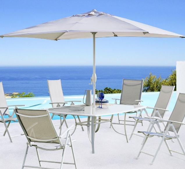 salon de jardin set rona blanc table 150 x 90 x 71cm 6 fauteuils multipositions parasol. Black Bedroom Furniture Sets. Home Design Ideas