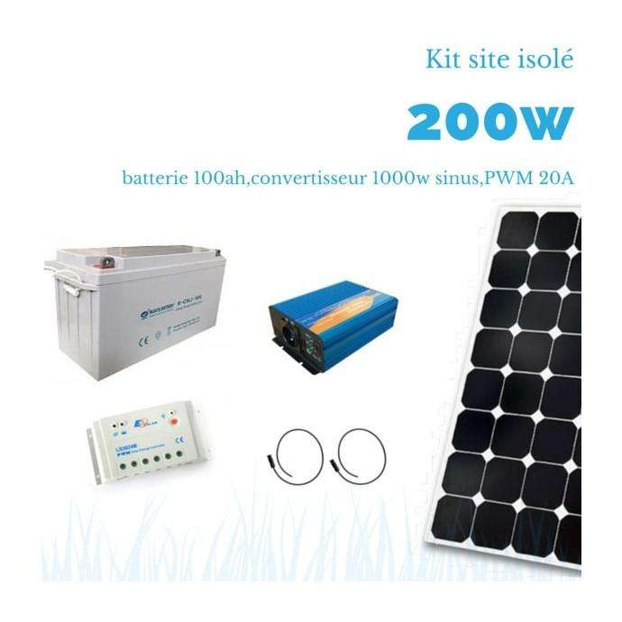 Kit solaire 200w batterie 100ah convertisseur 1000w sinus - Kit solaire autonome 1000w ...