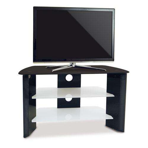 meuble tv kaorka noir laqu verre tremp. Black Bedroom Furniture Sets. Home Design Ideas