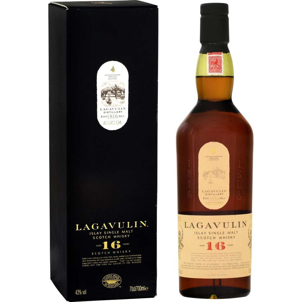bouteille de whisky lagavulin 16 ans d 39 ge islay single malt 70 cl avec tui via sur. Black Bedroom Furniture Sets. Home Design Ideas