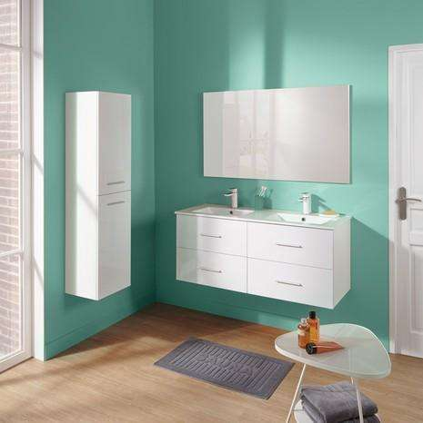 meuble double vasque en c ramique miroir blanc 120cm. Black Bedroom Furniture Sets. Home Design Ideas