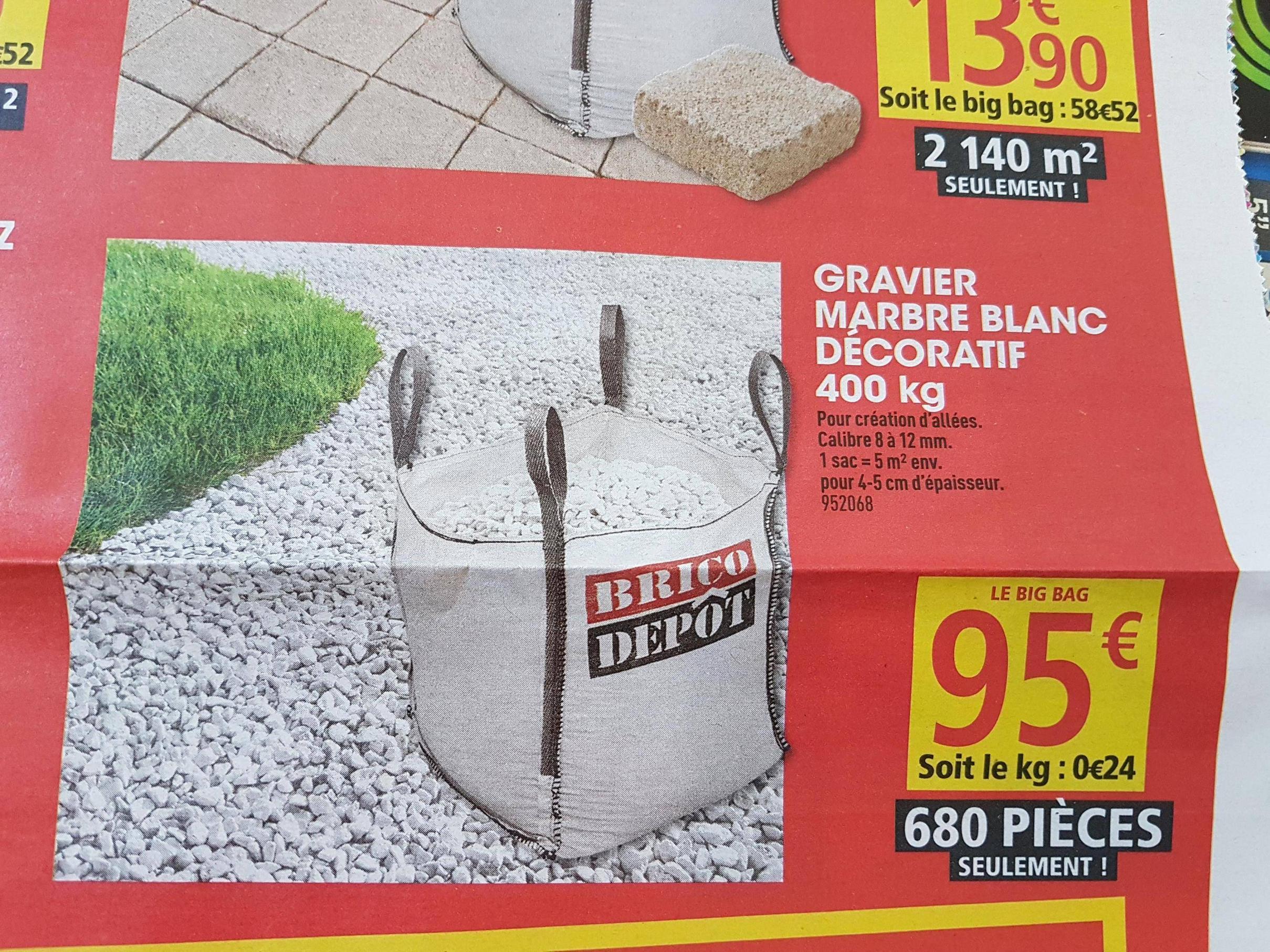 Gravier marbre blanc d coratif bigbag 400 kg for Prix gravier en vrac