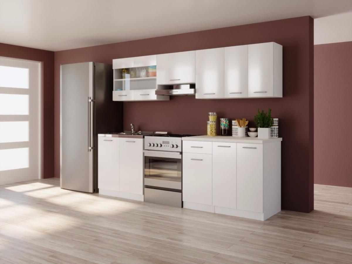 cuisine complete obi blanc brillant laque l 2 40m promo ralentisseurs de mouvement sur les. Black Bedroom Furniture Sets. Home Design Ideas