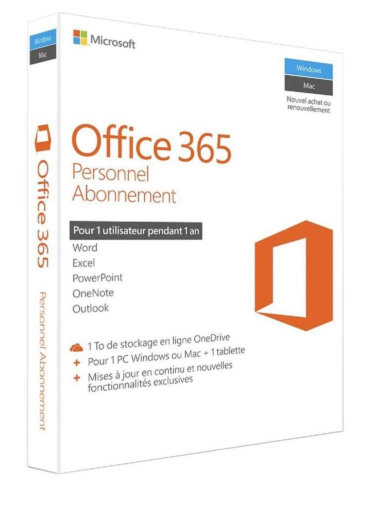 prime office 365 personnel abonnement un an pour 1 pc windows ou mac 1 tablette. Black Bedroom Furniture Sets. Home Design Ideas