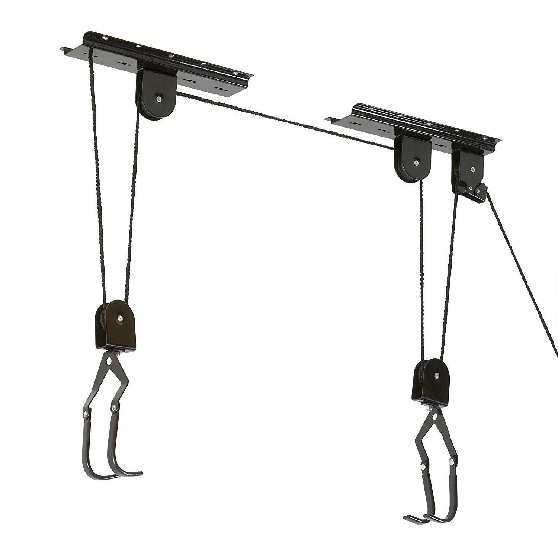 Porte v lo l vateur meister 20 kg - Porte velo plafond systeme fixation poulie ...