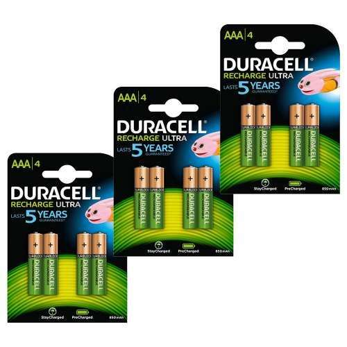 pack de 12 piles rechargeables duracell aaa 850 mah. Black Bedroom Furniture Sets. Home Design Ideas