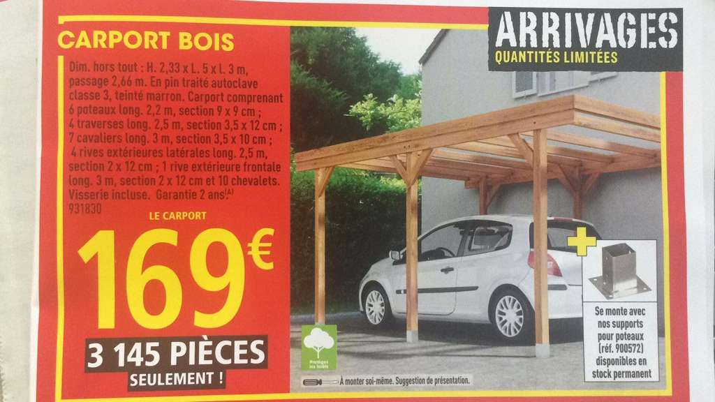 Carport En Bois M X M X M Dealabscom - Car port brico depot