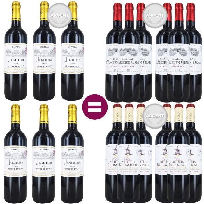 pack de 18 bouteilles de vin 6 ch teau joanna c te de bourg 2016 6 ch teau ancien orme. Black Bedroom Furniture Sets. Home Design Ideas