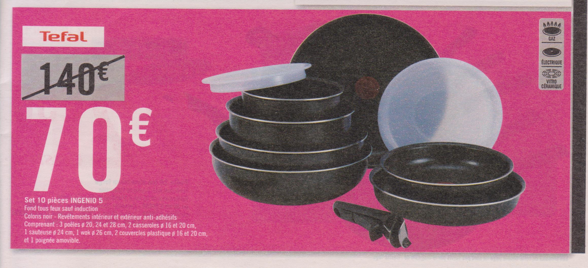 Set 10 pi ces tefal ingenio 5 - Tefal ingenio5 set 10 pieces noir ...