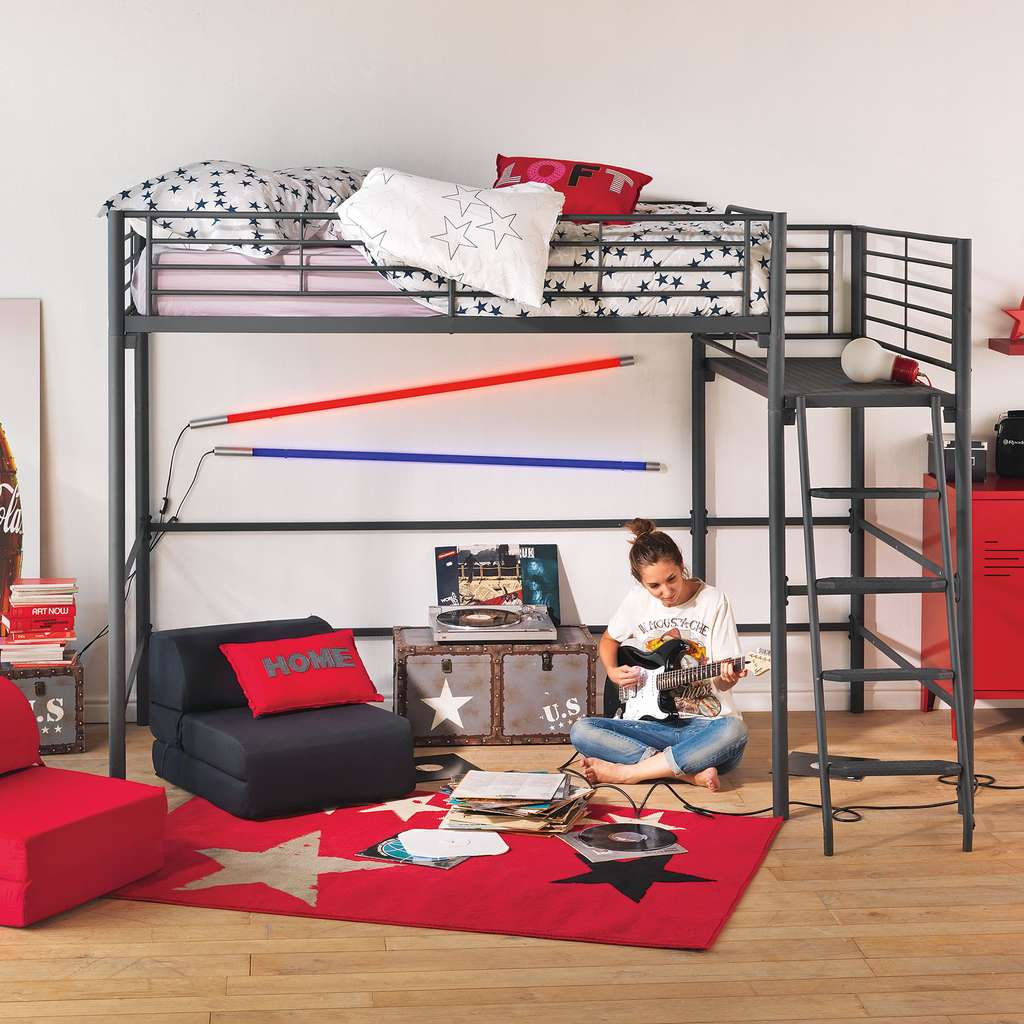 lit mezzanine alexi avec plate forme 140x200cm. Black Bedroom Furniture Sets. Home Design Ideas