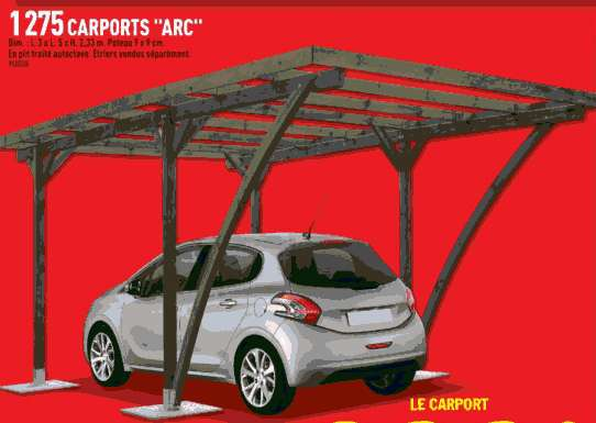 Carport Arc Xm Voiture Pin Traité Autoclave Dealabscom - Car port brico depot