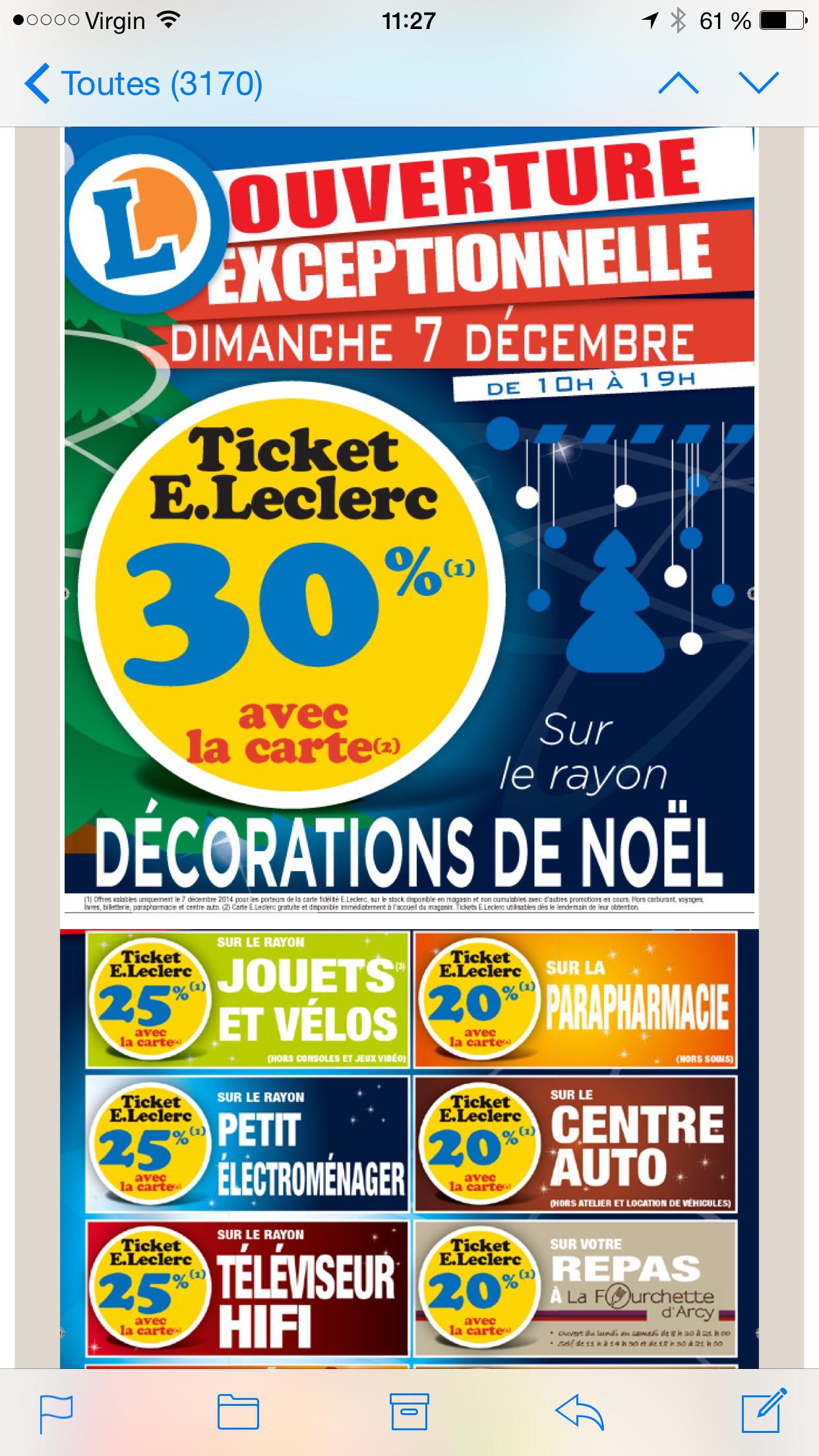 jusqu 39 30 en tickets leclerc ex 30 sur la deco de noel 25 sur les jouets 25 sur la tv. Black Bedroom Furniture Sets. Home Design Ideas