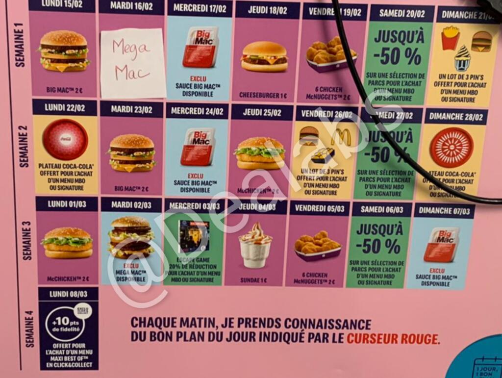 Calendrier Bon Plan Mcdo 2022 Sélection d'offres promotionnelles du 15/02 au 08/03   Ex : Sauce