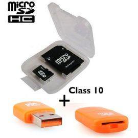 Carte SD 64 Go - SDHC 10 - Micro SD + adaptateur + Lecteur USB