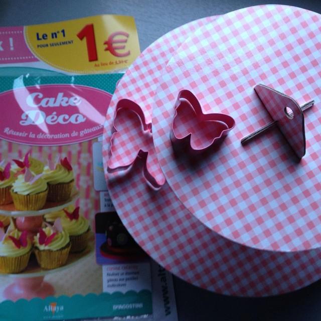 Cadeau offert avec le magazine Cake déco : Présentoir à cupcake avec 2 emporte-pièces papillon