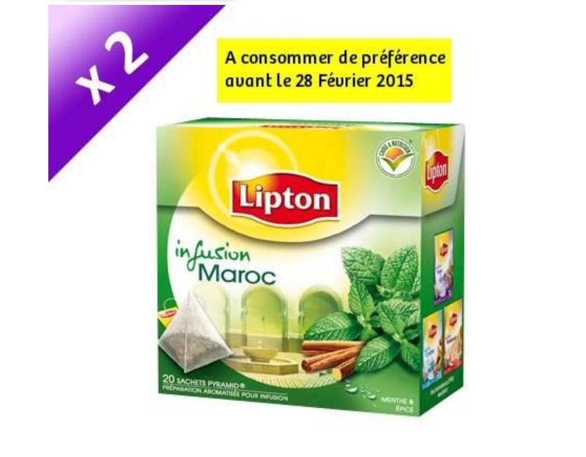Lot de 2 paquets de thé Lipton Maroc 20 Sachets (+ Paquet Infusion Lipton Elephant Nuit Tranquille)