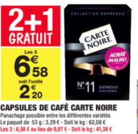 Lot de 3 boites de capsules de café Carte Noire