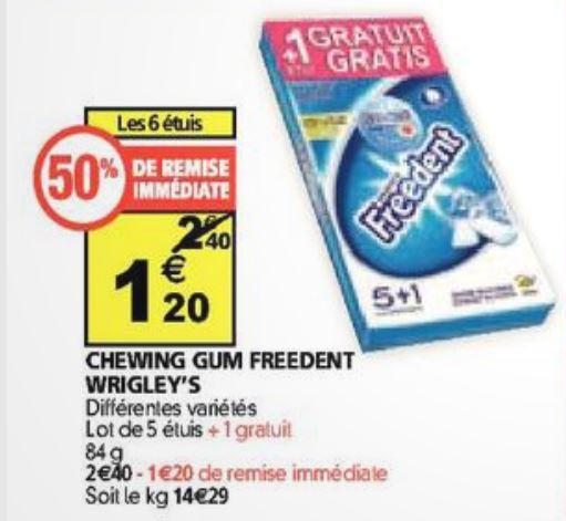2 paquets de 6 étuis de chewing-gum Freedent Wrigley's