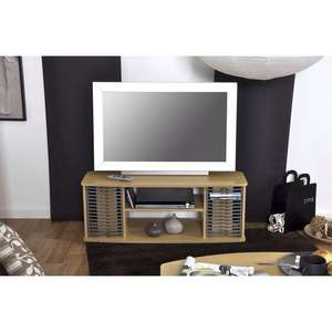 Meuble TV Home, 2 niches, 2 rangements CD/DVD - Hêtre