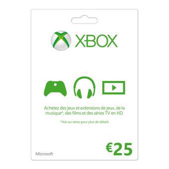 Carte cadeau Microsoft Xbox d'une valeur de 25€