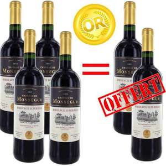 6 bouteilles de  Chateau de Monsegur 2011 Bordeaux Supérieur rouge 75cl